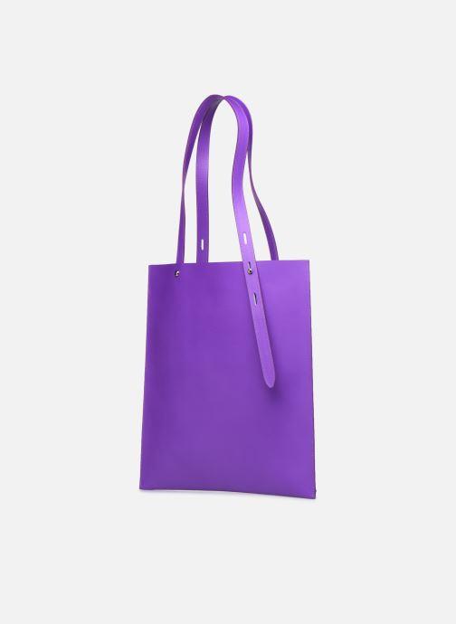 Borse Rebecca Minkoff Uri Tote - Flat Pocket Tote Nappa Viola modello indossato