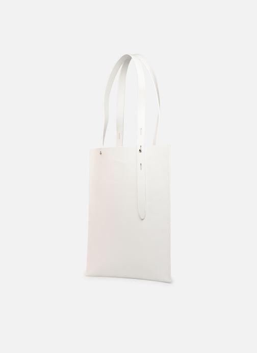 Bolsos de mano Rebecca Minkoff Uri Tote - Flat Pocket Tote Nappa Blanco vista del modelo