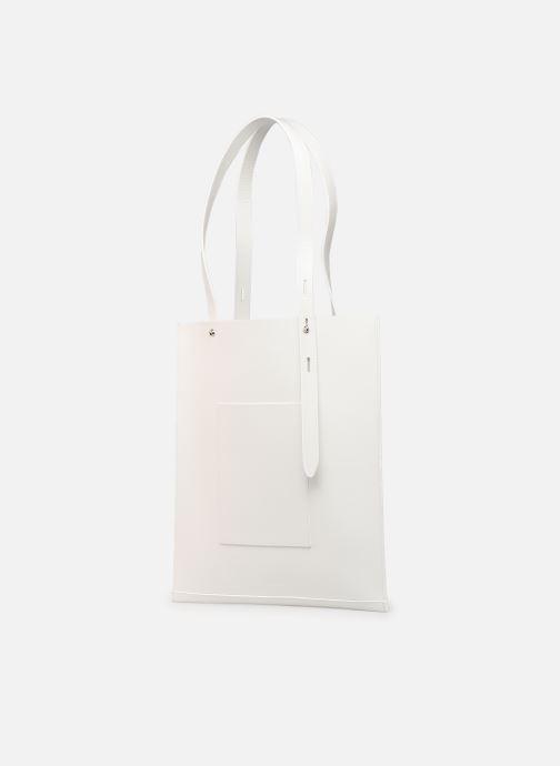 Handtassen Rebecca Minkoff Uri Tote - Flat Pocket Tote Nappa Wit rechts