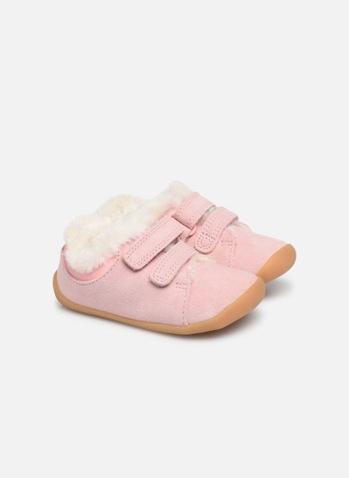 Chaussures à scratch Clarks Roamer Craft T warm Rose vue 3/4