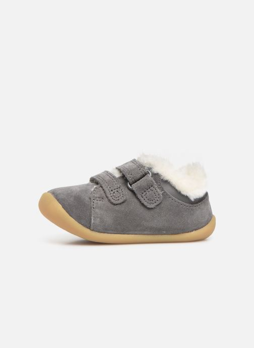Chaussures à scratch Clarks Roamer Craft T warm Gris vue face