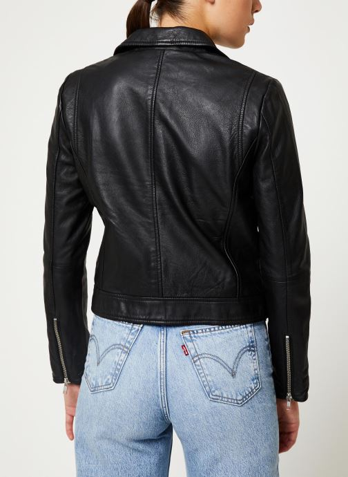 Vêtements Selected Femme Slfmarlen Leather Jacket Noir vue portées chaussures