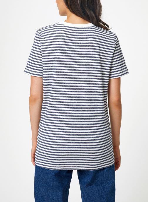 Vêtements Selected Femme Slfmy Stripes Tee Bleu vue portées chaussures