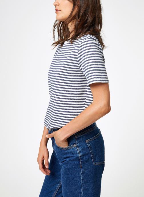 Vêtements Selected Femme Slfmy Stripes Tee Bleu vue droite
