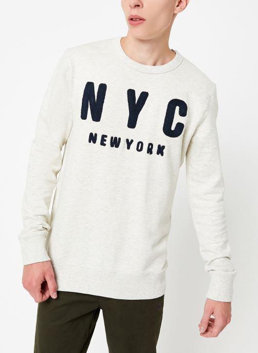 Vêtements Selected Homme Slhsimon City Sweat Blanc vue droite