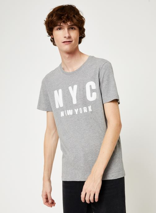 Vêtements Selected Homme Slhsimon City Tee Gris vue détail/paire