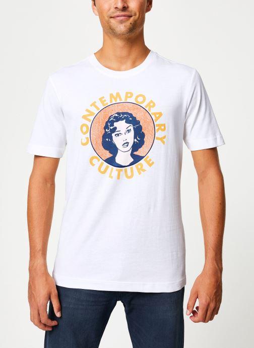 Vêtements Selected Homme Slhivar Print Tee Blanc vue droite