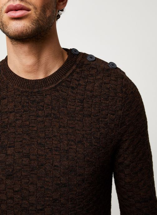 Vêtements Selected Homme Slhsquare Knit Marron vue face