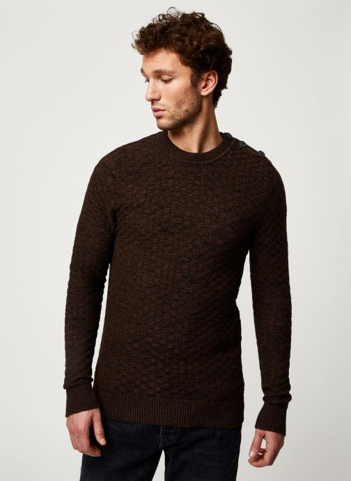 Vêtements Selected Homme Slhsquare Knit Marron vue détail/paire