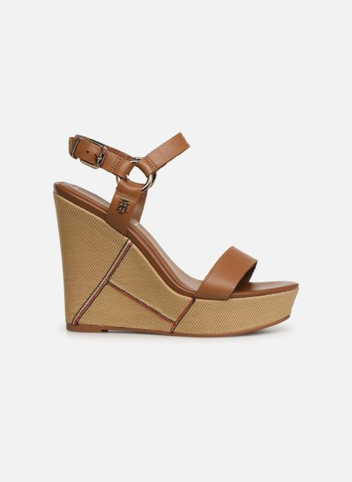 Sandalias Tommy Hilfiger Elevated Leather Wed Marrón vistra trasera