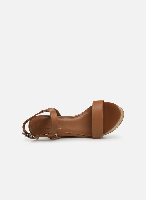Sandales et nu-pieds Tommy Hilfiger Elevated Leather Wed Marron vue gauche