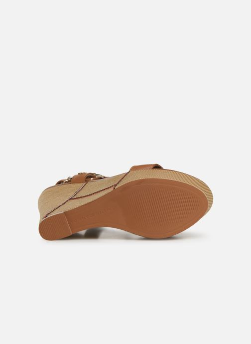 Sandalias Tommy Hilfiger Elevated Leather Wed Marrón vista de arriba