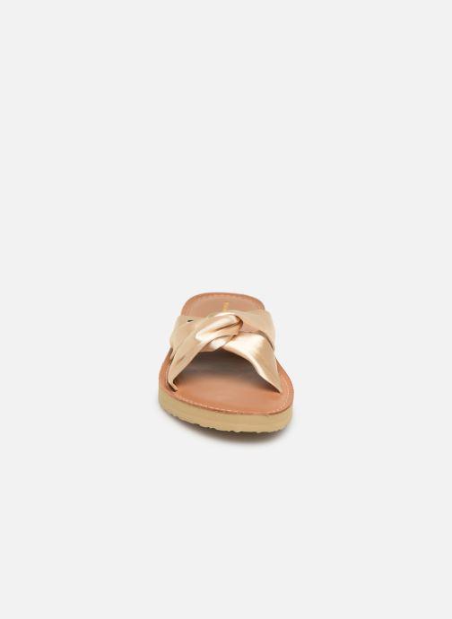 Mules et sabots Tommy Hilfiger Satin Elevate Or et bronze vue portées chaussures