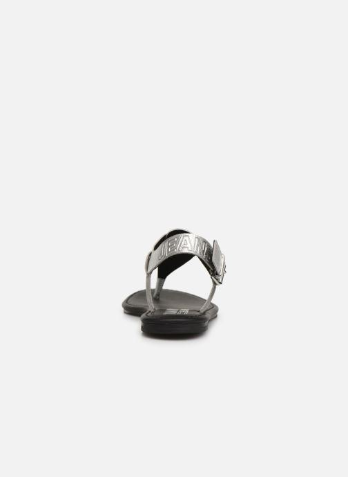 Sandalias Tommy Hilfiger Shiny Metallic Flat Plateado vista lateral derecha