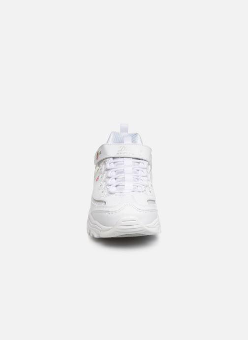 Baskets Skechers D'Lites Velcro Blanc vue portées chaussures