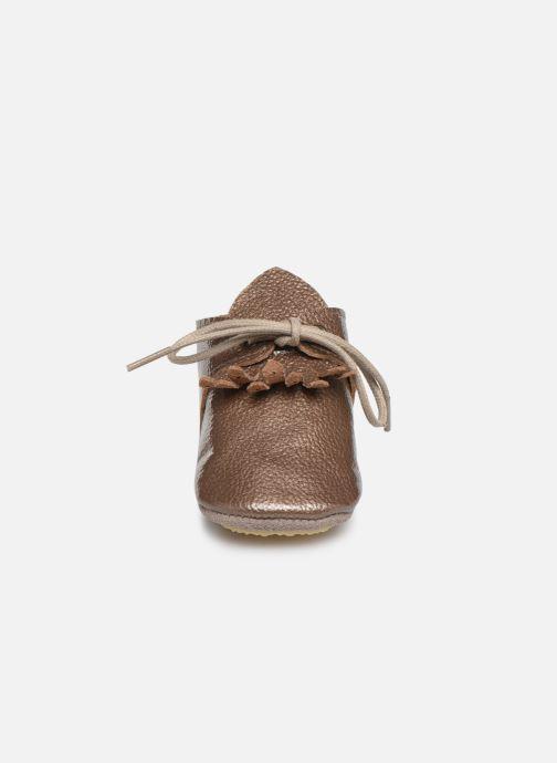 Chaussons Patt'touch Augustina Derby Franges Or et bronze vue portées chaussures