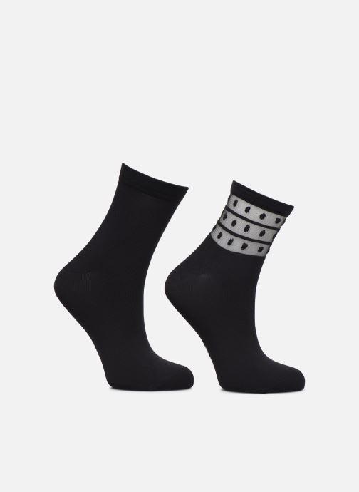 Chaussettes et collants Dim Socquettes SKIN DOTS Lot de 2 Noir vue portées chaussures