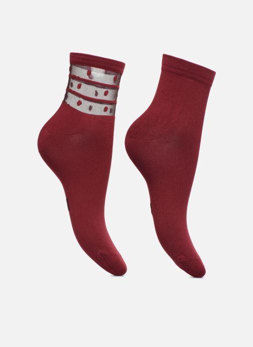 Sokken en panty's Dim Socquettes SKIN DOTS Lot de 2 Bordeaux model