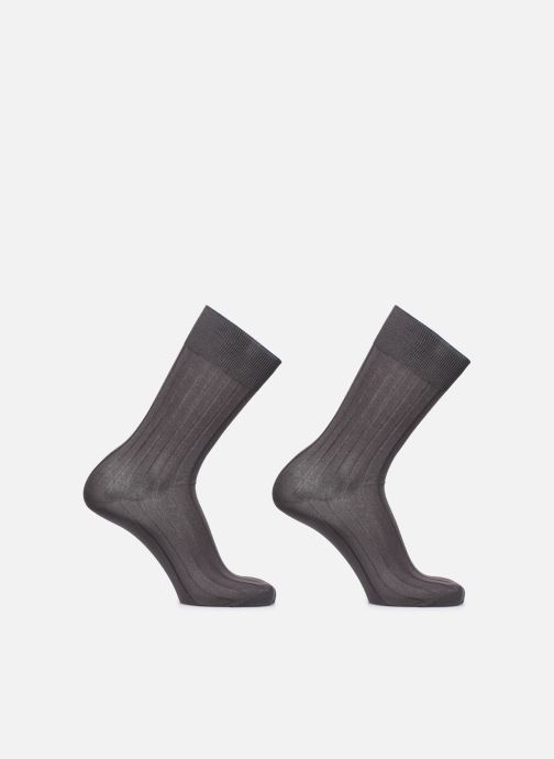 Socks & tights Dim Chaussettes FIL D'ECOSSE Côtes Fines Lot de 2 Grey detailed view/ Pair view