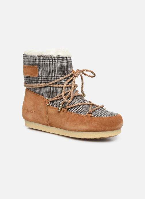 Sport shoes Moon Boot Moon Boot Far Side Low Fur/Tartan Brown detailed view/ Pair view