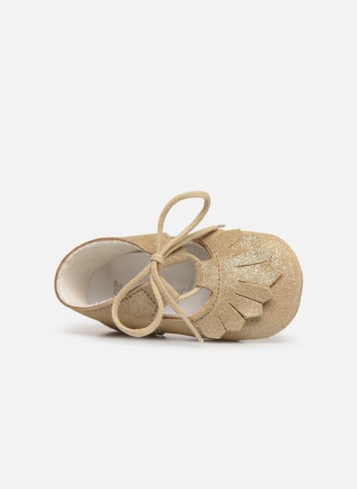Pantuflas Patt'touch Carole Charles Ix Franges Oro y bronce vista lateral izquierda