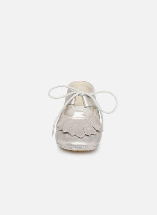 Pantofole Patt'touch Carole Charles Ix Franges Argento modello indossato