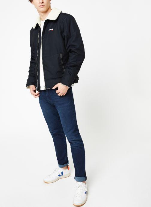 Vêtements Schott Blouson Double Sherpa M Bleu vue bas / vue portée sac