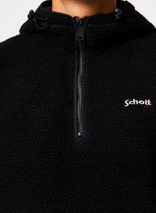 Vêtements Schott Sweat Capuche Sherpa Sw Andric 1 M Noir vue face