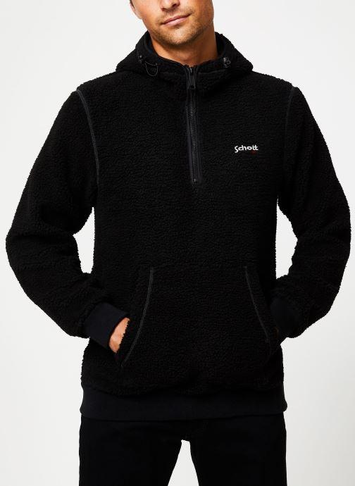 Vêtements Schott Sweat Capuche Sherpa Sw Andric 1 M Noir vue droite