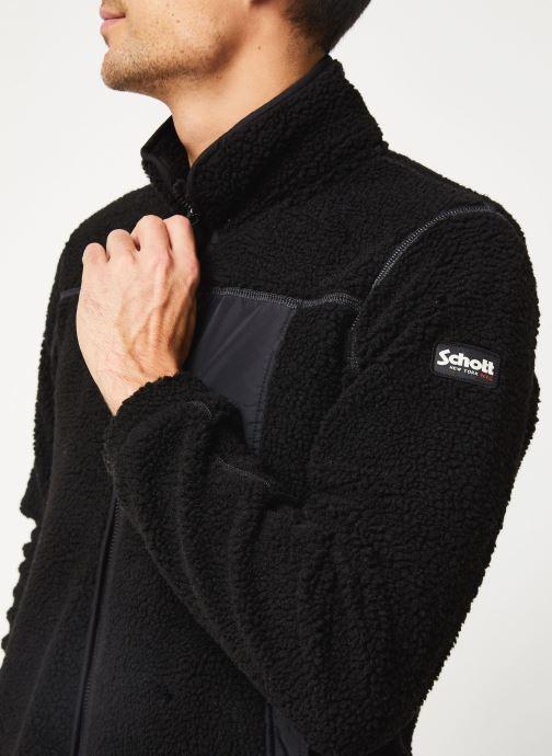Vêtements Schott Sweat Zippe Sherpa Sw Archer M Noir vue face
