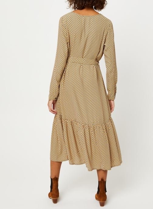 Vêtements MOSS COPENHAGEN Charlotte Morocco Ls Dress Aop Beige vue portées chaussures