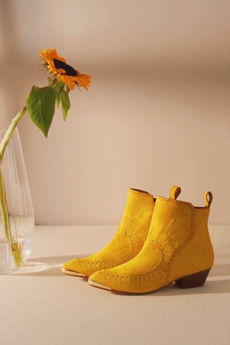 Bottines et boots Made by SARENZA Made By Sarenza x Daphné Burki Boots Jaune vue portées chaussures