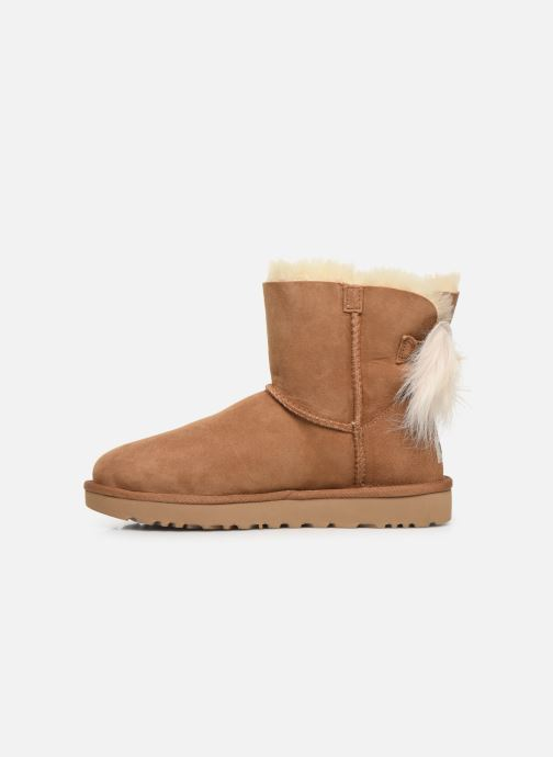 Botines  UGG W Fluff Bow Mini Marrón vista de frente