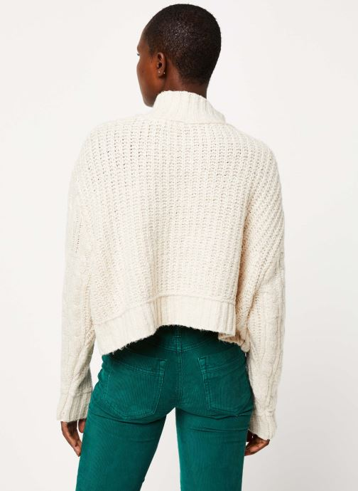 Kleding Free People MERRY GO ROUND SWEATER Wit model