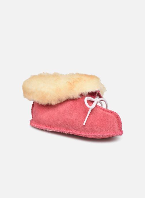 Hjemmesko Minnetonka Sheepskin Bootie Pink detaljeret billede af skoene