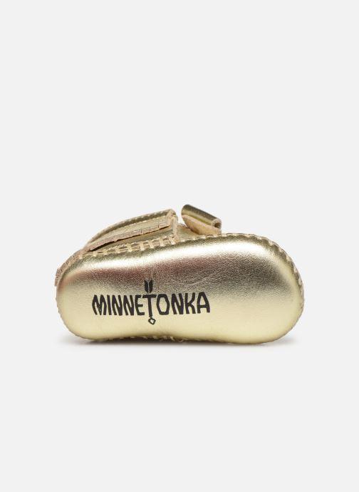 Pantofole Minnetonka Rosie Bootie Oro e bronzo immagine dall'alto