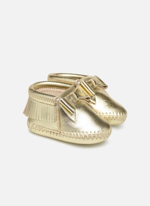 Slippers Minnetonka Rosie Bootie Bronze and Gold detailed view/ Pair view