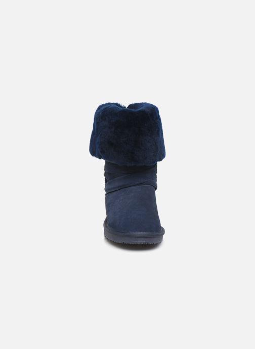 Bottes Minnetonka Ama Bleu vue portées chaussures