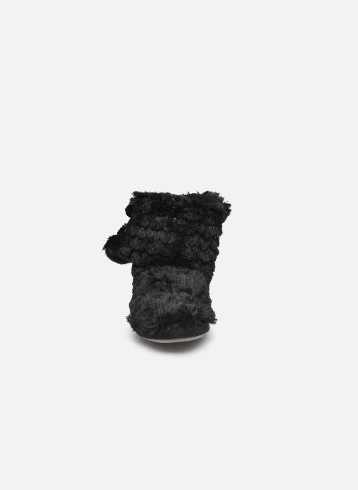 Slippers Sarenza Wear Chaussons boots paillettes Femme Black model view