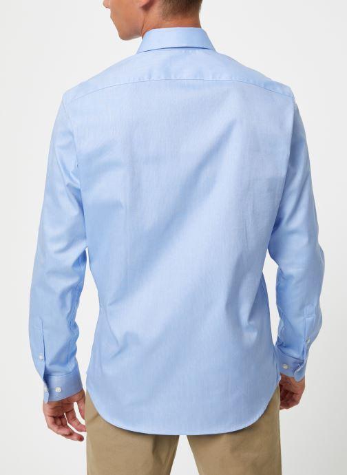 Vêtements Selected Homme Slhslimnew-Mark Shirt Bleu vue portées chaussures