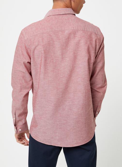 Vêtements Selected Homme Slhslimlinen Shirt Rouge vue portées chaussures