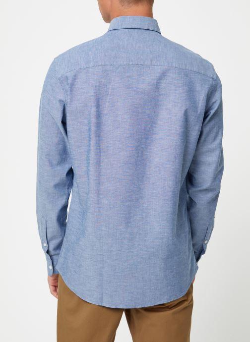 Vêtements Selected Homme Slhslimlinen Shirt Bleu vue portées chaussures