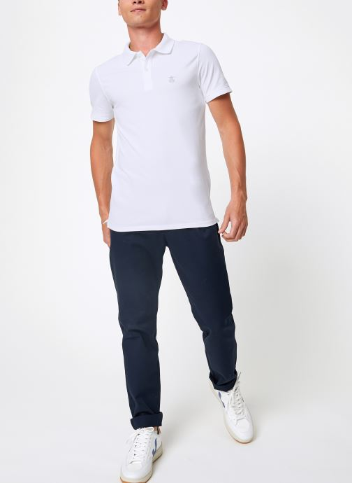 Vêtements Selected Homme Slharo Embroidery Polo Blanc vue bas / vue portée sac