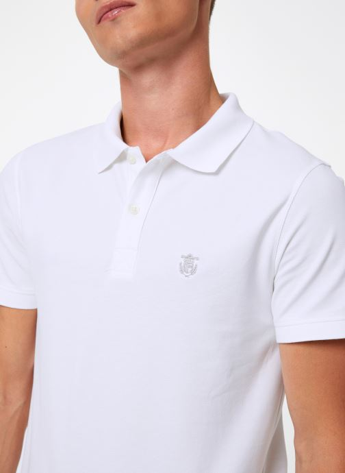 Vêtements Selected Homme Slharo Embroidery Polo Blanc vue face
