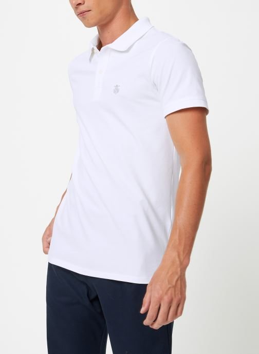 Vêtements Selected Homme Slharo Embroidery Polo Blanc vue droite