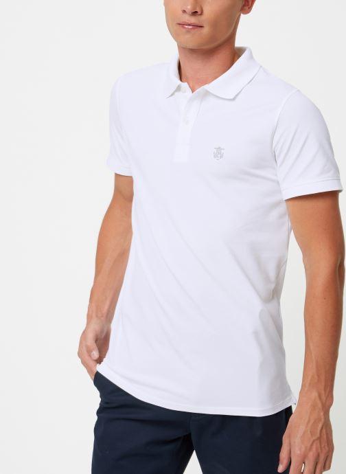 Vêtements Selected Homme Slharo Embroidery Polo Blanc vue détail/paire