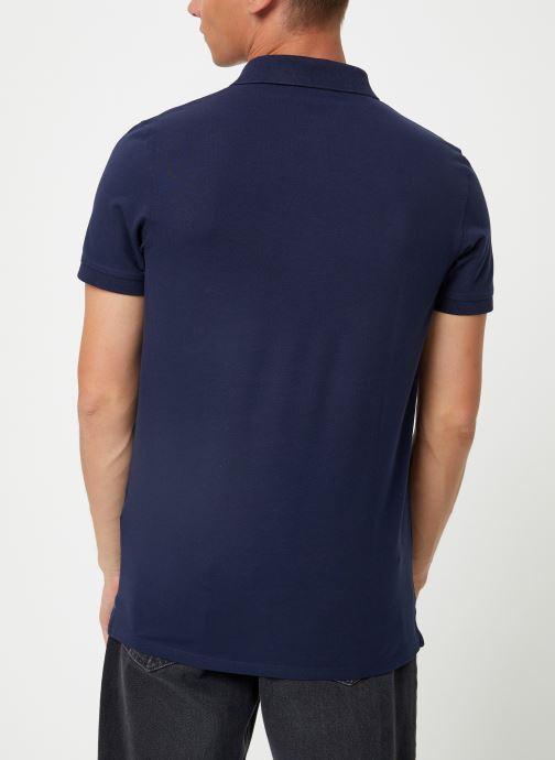 Vêtements Selected Homme Slharo Embroidery Polo Bleu vue portées chaussures