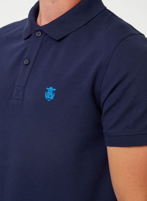 Vêtements Selected Homme Slharo Embroidery Polo Bleu vue face