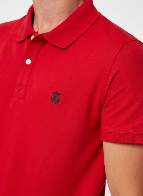 Vêtements Selected Homme Slharo Embroidery Polo Rouge vue face