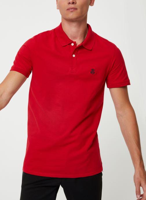 Vêtements Selected Homme Slharo Embroidery Polo Rouge vue détail/paire